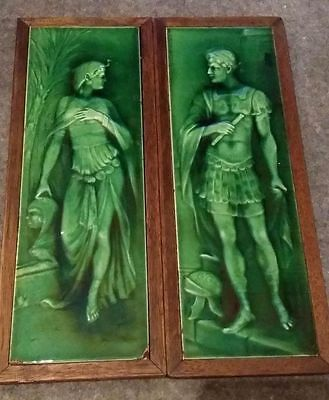 Vintage Cleopatra & Marc Antony Majolica Fireplace Tile-Architectural Salvage