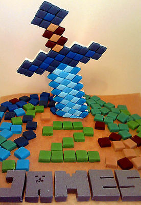 Handmade  Minecraft cake toppers squares personalised edible birthday