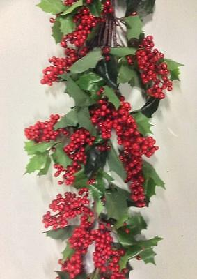 4ft Artificial Holly & Berry Swag/Garland Christmas Decoration