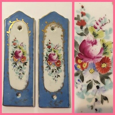 (2) 19th C. Sevres Porcelain Hand Painted Tiles / Plaques for Furniture