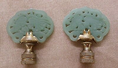 Pair of Large Green Carved Jade Stone Lamp Finials