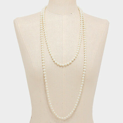 """72"""" Long Cream Pearl Strand Flapper Necklace W308866"""