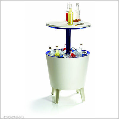 Garden Cooler Box Rattan Drinks Ice Outdoor Pool Party Bar Table Stool Camping
