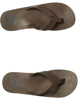 New Reef Men's Crew Leather Thong Rubber Leather Mens Shoes Brown