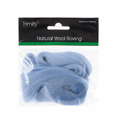 TRIMITS Natural 100% Wool Roving For Needle Felting 10g - LIGHT BLUE