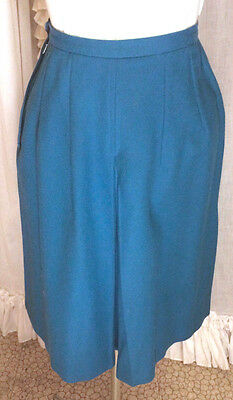60s Blue Wool High Waisted Pleated Culotte Shorts