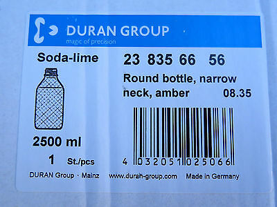 Duran Laborglass 2,5l Round bottle narrow neck amber soda-lime-glass Flasche