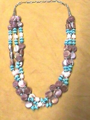 Native American Necklace Turquoise and Purple Spiny Oyster Authentic #57