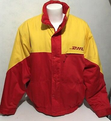 DHL Employee Delivery Driver Jacket Coat Size 3XL XXXL Red Yellow Quilted Lining