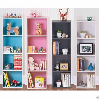 4 Tier Wooden Coloured Bookcase Storage Shelf Display Unit Pink Blue White Black