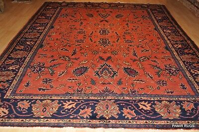 9' X 11' AUTHENTIC PERSIAN RUG Circa 1930's Antique Mahal Coral Navy Blue #PM75