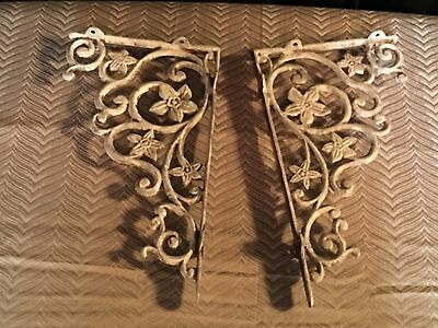 Ornate Reproduction Cast Iron Cream Wall Shelf Brackets Set Of 2