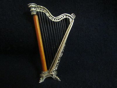 Sterling Silver Musical Instrument Miniature Harp.