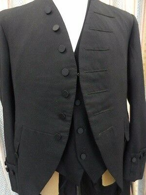 vtg court coat judge ceremonial high sheriff silk buttons cut-back front 46""