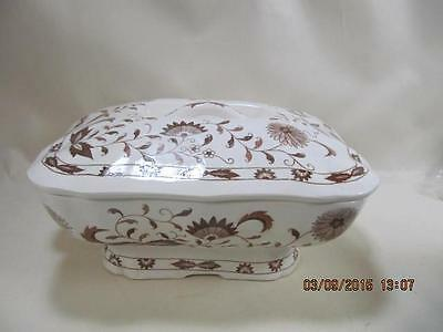 Divided Ceramic Brown Transferware Electric Warming Dish Buffet Serving Chafing