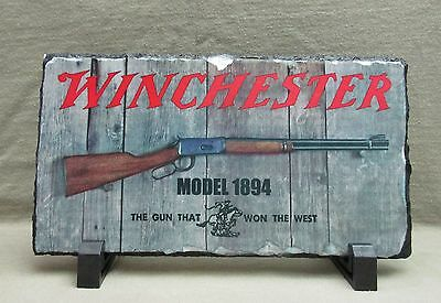 Vintage Winchester Model 1894 on Slate Stone Plaque with Stand - Great Gift Idea