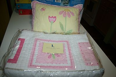 NEW Pottery Barn Kids Spring Butterfly Quilt & Sham Toddler Pink White PB