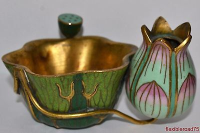 Old Chinese Pair 19th/20th Cloisonné Lotus Blossom Candle Holders Scholar Art