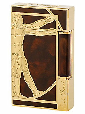 St Dupont Vitruvian Man Prestige Limited Edition Gold Lighter Line 2 Linge Lacqu