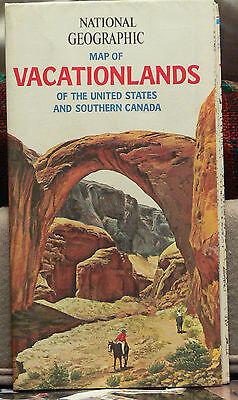 Vintage 1966 National Geographic Map of Vacationlands of the United States and