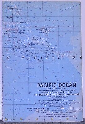 Vintage 1962 National Geographic Map of the Pacific Ocean