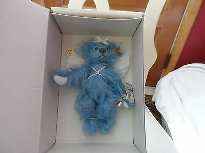 """ANNETTE FUNICELLO BEARS LE Blue Belle Angel Bear 7"""" mohair #6241 with wings"""