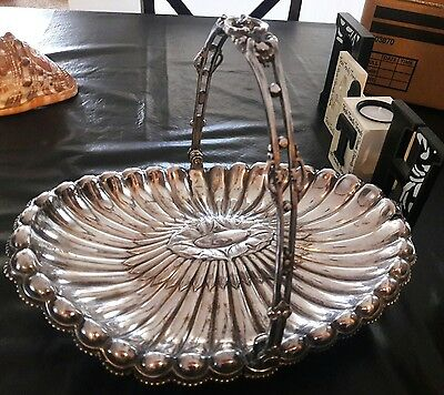 Vintage Reed and Barton ornate silverplate footed bride basket
