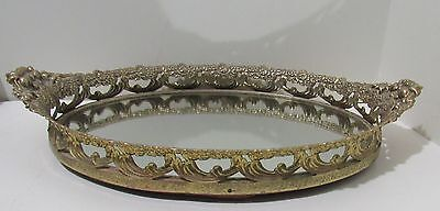Vanity Tray Gold Tone Floral with Mirror