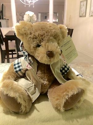 Designer Burberry Fragrance Teddy Bear with Camel Beige Tan Trench Coat NWT