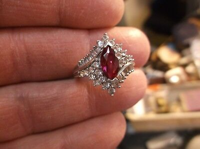 Beautiful Sterling Silver, Red Marquise Ruby, White Sapphire & Diamond Ring, Vgc
