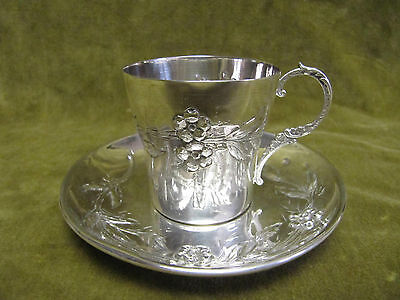 1900 french sterling silver (950) coffee cup (& saucer) art nouveau st 104gr