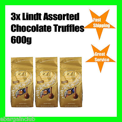 3x Lindt Assorted Chocolate Balls Truffles 600g  5 Flavour Total 1.8kg ~150 Ball