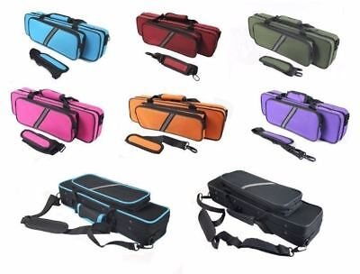 Flute CASE  with Shoulder Strap for C foot - Holds piccolo in front pocket! New!