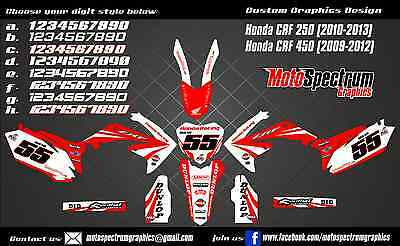 Honda CRF 250 450  graphics kit2009 2010 2011 2012 2013 decals stickers