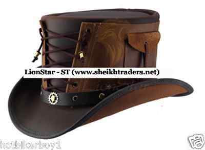 Steampunk Handmade Real Leather Double Tone Gothic/Cowboy Vested Corset Top Hat