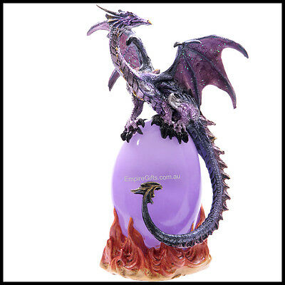 Dragon Ornament Statue Figurine Dragon LED Lamp Light Purple