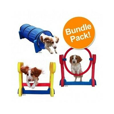 Dog Agility Equipment Small Training Obstacle Course Hurdle Tunnel Hoop Set Kit