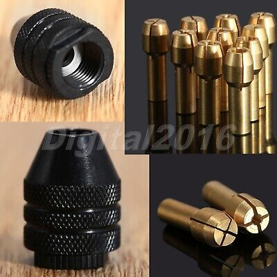 0.5-3.2mm Brass Drill Chuck Collet Bit & Shaft Screw Cap For Grinder Rotary Tool