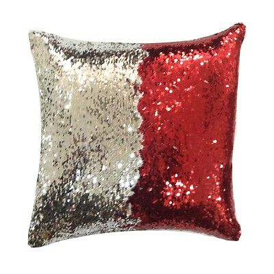 Sparkling Glam Sequined Red & Silver Unique Creative Pattern Fun Cushion Cover