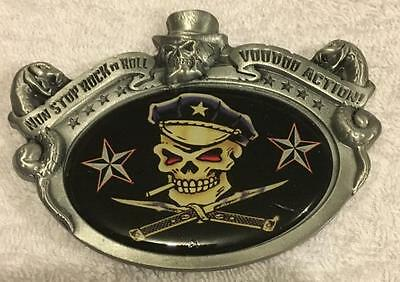 Vintage 3D Vince Ray Skull & Knives Pewter Belt Buckle Birthday Gift Fathers Day