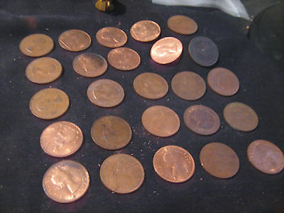 25 Great Britain Large One Penny Coins *Mixed Dates And Conditions*
