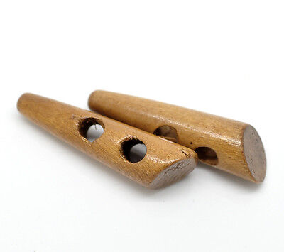 10 LARGE NATURAL WOODEN HORN TOGGLE BUTTONS 50mm x 13mm Sewing~Knitting~(80A)UK