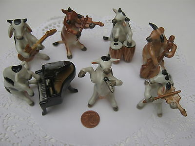 Animal Vache Musicienne Miniature Porcelaine Piano Cow Music Band Ceramic