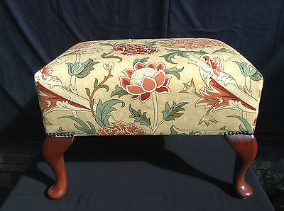 Parker Knoll Penshurst Large Footstool Newly Reupholstered in William Morris