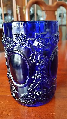 PICKLE CASTOR GLASS INSERT JAR by WG Wright Mirrors and Roses Cobalt Blue RARE