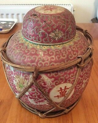Antique Red And White Longetivity Chinese Ginger Damaged Lid