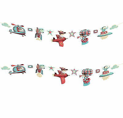 Djeco Boys Aviation Theme Bedroom Aeroplane Transport Wall Hanging Banners