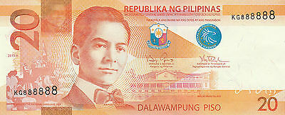 2015A / Solid Serial # Kg 888888 / Lucky # 8 / 20 Piso Ngc / Philippines