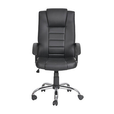 Swivel  Black PU Leather Office Chair PC Computer Desk Furniture High Back