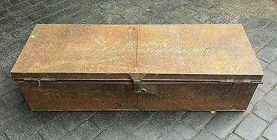 Vintage Edwardian Metal Post Office GPO Trunk Chest Box Storage TV Coffee Table